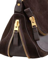 Tom Ford Brown Jennifer Large Suede Shoulder Bag