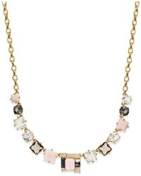 Kate Spade | Metallic Gold-tone Multi-stone Mini Necklace | Lyst