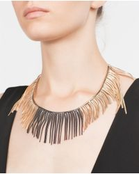Zara | Metallic Two-tone Short And Long Chain Necklace | Lyst