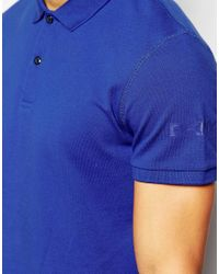 DKNY | Blue Polo Shirt Short Sleeve Logo for Men | Lyst