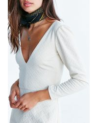 Kimchi Blue White Ramona Textured Plunge Dress