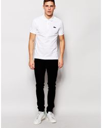 Lacoste L!ive | White Polo Shirt With Large Croc Slim Fit for Men | Lyst