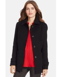 Lauren by Ralph Lauren Black Wool Blend Barn Jacket