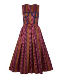 House of Holland - Purple Chevron Tape Jacquard Dirndl Dress - Lyst