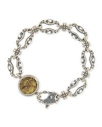 Konstantino | Metallic Silver And Bronze Coin Link Bracelet | Lyst