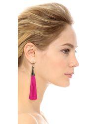 Eddie Borgo - Metallic Small Silk Tassel Earrings - Pink/gunmetal - Lyst