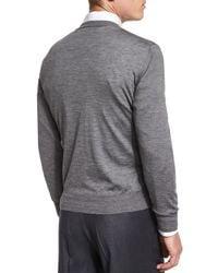 Brioni Gray Heathered Wool/silk Crewneck Sweater for men