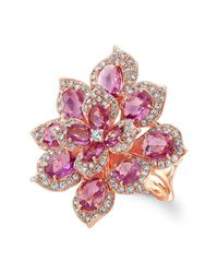 Anne Sisteron | 18kt Rose Gold Pink Sapphire Diamond Lotus Ring | Lyst