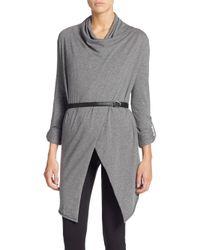 Marc New York Gray Stretch-cotton Wrap Cardigan