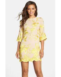 Dress the Population Yellow Paige Embroidered Chiffon Dress