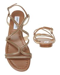 Jimmy Choo - Chain Detail Strappy Flat Sandal: Brown - Lyst