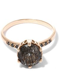 Anna Sheffield Metallic Gold Blackened Rutilated Quartz Hazeline Solitaire Ring