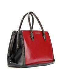 Miu Miu Red Twotone Cracked Leather Tote