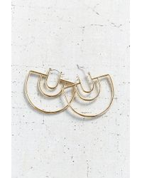 Urban Outfitters - Metallic 18k Gold Plated Geo Hoop Earring - Lyst