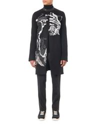 Rick Owens Black Embroidered Cashmere Coat for men