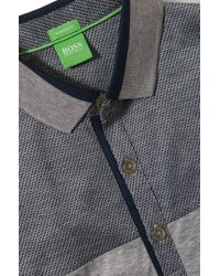 BOSS Green - Gray Regular-fit Golf Polo Shirt 'pavel' In Cotton for Men - Lyst