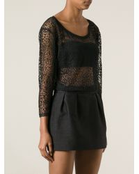 Saint Laurent Black Sheer Patterned Top