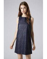 TOPSHOP Blue Laser-Cut Pu Slip Dress