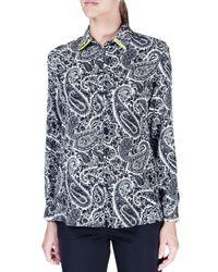 Etro - Blue Long-sleeve Paisley-print Silk Blouse - Lyst