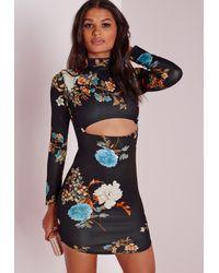 Missguided Multicolor Scuba Curve Hem Bodycon Dress Oriental Print