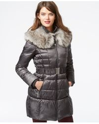 Betsey Johnson - Metallic Faux-fur-collar Belted Puffer Coat - Lyst