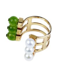 Crystalline | Pearl And Green Ring | Lyst