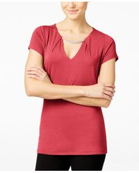 INC International Concepts - Red Cutout Hardware Top, Only At Macy's - Lyst