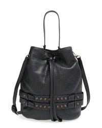She + Lo Black 'aim High' Perforated Drawstring Bag