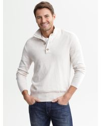 Banana Republic - White Cotton Cashmere Button Mock Light Tundra for Men - Lyst