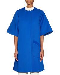 ROKSANDA Blue Huron Collarless Mohair And Wool-blend Coat