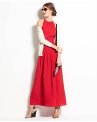 Ann Taylor | Red CDC Halter Solid Maxi | Lyst