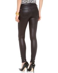 7 For All Mankind Black Faux Crackle Leather Skinny Pants