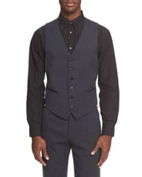 John Varvatos | Blue Trim Fit Solid Wool Vest for Men | Lyst