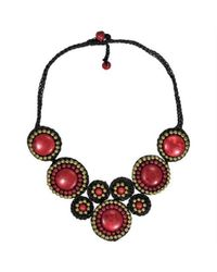 Aeravida | Precious Mosaic Circles Red Coral Fashion Necklace | Lyst