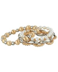 Guess | Metallic Three Piece Stretch Bracelet Set | Lyst