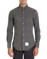 Thom Browne Gray Snap Button Corduroy Shirt for men