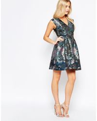 Oasis Black Asis Butterfly Jacquard Skater Dress
