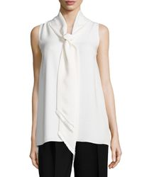 Lafayette 148 New York - Gray Charlie Sleeveless Scarf-neck Blouse - Lyst