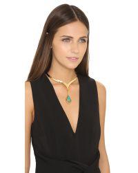 Vanessa Mooney Blue Cherry Bomb Choker Necklace - Gold/turquoise