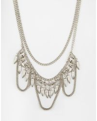 Pieces | Metallic Erica Multichain Necklace | Lyst