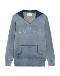 Current/Elliott | Blue Hooded Cottonfleece Sweatshirt | Lyst