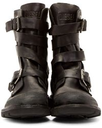 DIESEL Black Leather D-tankker Boots for men