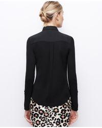 Ann Taylor - Black Petite Woven Trim Button Down Shirt - Lyst