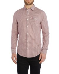 Original Penguin | Red Long Sleeve Facade Gingham Shirt for Men | Lyst