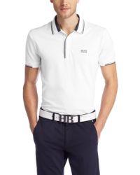 BOSS Green White Slim-Fit Cotton Blend Polo Shirt 'Paule' for men