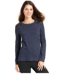 Calvin Klein Blue Performance Quilted-Shoulder Pullover