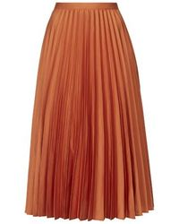 topshop satin pleated midi skirt in orange lyst