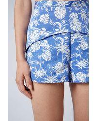 TOPSHOP Blue Tropical Palm Print Skort