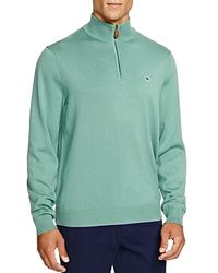 Vineyard Vines Blue Quarter Zip Cotton Sweater for men