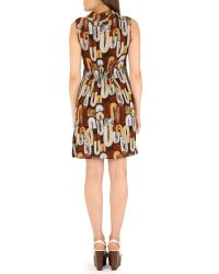 Izabel London Brown Printed Sleeveless Dress